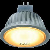 Ecola MR16   LED  7,0W 220V GU5.3 золотистый матовое стекло (ребристый алюм. радиатор) 51x50