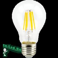 Ecola classic   LED Premium 10,0W A60 220-240V E27 6500K 360° filament прозр. нитевидная (Ra 80, 100 Lm/W, КП=0) 105x60