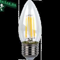 Ecola candle   LED Premium  6,0W  220V E27 4000K 360° filament прозр. нитевидная свеча (Ra 80, 100 Lm/W, КП=0) 96х37