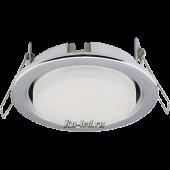 Ecola Light GX53 H4 LED светильник Хром встр.без рефл. с лампой GX53 LED 6,0W 2800К матовое стекло 38x106