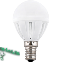 Ecola Light Globe  LED  7,0W G45  220V E14 4000K шар (композит) 82x45  (1 из ч/б уп. по 4)