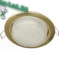 Ecola GX53 H4 светильник встраив. без рефл.  Шлифованное золото 38x106 (к+)