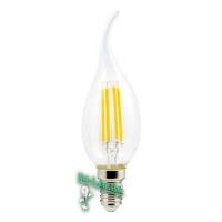 Ecola candle   LED Premium  5,0W  220V E14 4000K 360° filament прозр. нитевидная свеча на ветру (Ra 80, 100 Lm/W, КП=0) 125х37