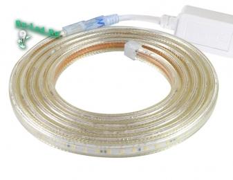 световая лента 220 вольт обладает длительным сроком службы Ecola LED strip 220V STD 4,8W/m IP68 12x7 60Led/m 2800K 4Lm/LED 240Lm/m лента 20м
