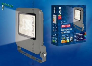 уличные светильники прожекторы светодиодные эффективно решат задачу освещения заданной ULF-F17-50W/WW IP65 195-240В SILVER