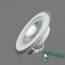 точечный светильник круглый Мощный, яркий, долговечный, энергосберегающий... что еще нужно осветительному прибору? 703R-10W-3000K Светильник встраиваемый,круглый,со стеклом,LED,10W