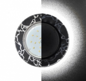 Ecola GX53 H4 LD5310 Glass Стекло Круг с подсветкой  черный хром - хром на черном 38x126 (к+)