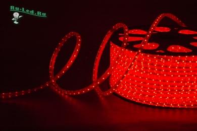 освещение светодиодной лентой Ecola LED strip 220V STD 4,8W/m IP68 12x7 60Led/m Red красная лента на катушке 100м