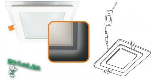 Ecola LED downlight встраив. Квадратный даунлайт со стеклом и подсветкой с драйвером  9W 220V 2700K 120x120x35