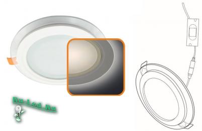 Ecola LED downlight встраив. Круглый даунлайт со стеклом и подсветкой с драйвером 18W 220V 6500K 200x35