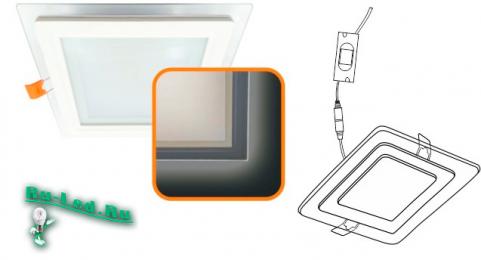 Ecola LED downlight встраив. Квадратный даунлайт с драйвером с подсветкой 16(12+4)W 220V 4200K / Blue Синяя 195x195x20