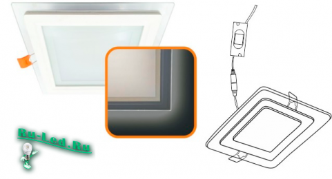 Ecola LED downlight встраив. Квадратный даунлайт с драйвером с подсветкой 16(12+4)W 220V 6500K / 6500K 195x195x20
