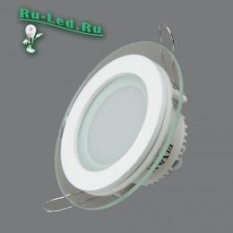 купить круглый светодиодный светильник от лучших российских компаний 705R-6W-3000K Светильник встраиваемый,круглый,со стеклом,LED,6W