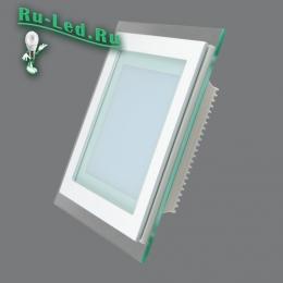 светодиодные светильники потолочные тонкие для самого взыскательного покупателя 705SQ-12W-6000K Светильник встраиваемый,квадратный,со стеклом,LED,12W
