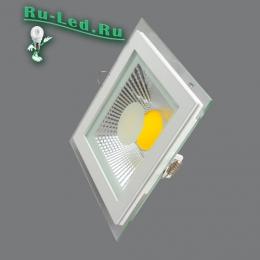 купить точечный светодиодный светильник для натяжных потолков превосходно гармонируют с самыми разнообразными элементами декора 703SQ-10W-3000K Светильник встраиваемый,квадратный,со стеклом,LED,10W