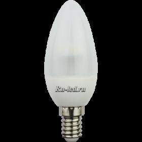 Лампа Е14 миньон Ecola candle LED 4,2W 220V E14 4000K полуматовая свеча искристая пирамида 98x36