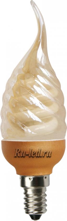C4GW09ECG лампы - свечи ecola candle  9w dea/ftg 220v e14  витая золотистая свеча на ветру 125х39