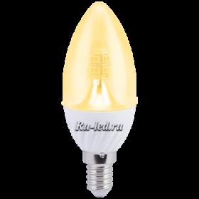 Лампочки е14 светодиодные Ecola candle LED Premium 4,0W 220V E14 золотистая 320° прозрачная свеча искристая точка (керамика) 98х37