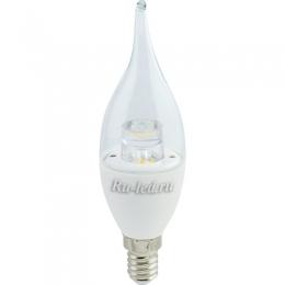 Светодиодная лампа свеча на ветру обеспечивает комфортное освещение Ecola candle LED Premium 7,0W 220V E14 4000K прозрачная свеча на ветру с линзой (композит) 126x37
