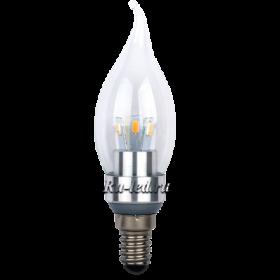 led свеча premium 3,3W 220V E14 4000K прозрачная свеча на ветру искристый трилистник (металл. радиатор) 116x35
