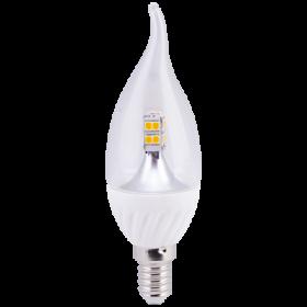 светодиодная свеча е14 Ecola candle LED 4,0W 220V E14 2700K 320° прозрачная свеча на ветру искристая точка (керамика) 125х37