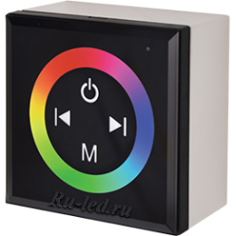 Ecola LED strip RGB Controller 12A 144W 12V (288W 24V) настенный черный с кольцевым сенсором с установ. коробкой