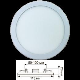 Ecola LED downlight встраив. Круглый даунлайт с креплением под любое отверстие (50-100mm)  8W 220V 6500K 115x20