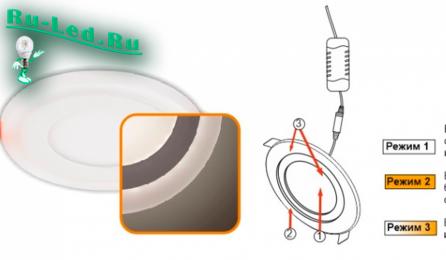 Ecola LED downlight встраив. Круглый даунлайт с драйвером с подсветкой  9(6+3)W 220V 6500K / 6500K 145x20