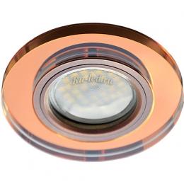 Подвесные точечные светильники Ecola MR16 DL1650 GU5.3 Glass Стекло Круг Янтарь / Черненая медь 25x95 (кd74)