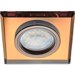 Точечные светильники для гипсокартонных Ecola MR16 DL1651 GU5.3 Glass Стекло Квадрат скошенный край Янтарь / Черненая медь 25x90x90