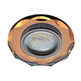 Встраиваемый светодиодный точечный Ecola MR16 DL1653 GU5.3 Glass Стекло Круг с вогнутыми гранями Янтарь / Черненая медь 25x90 (кd74)