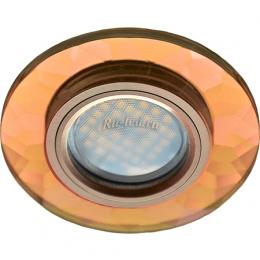 потолочные светильники светодиодные led Ecola MR16 DL1654 GU5.3 Glass Стекло Круг граненый Янтарь / Черненая медь 25x90 (кd74)