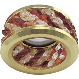 купить светодиодный встроенный светильник Ecola MR16 DL1655 GU5.3 встр. круглый с хруст.(3 ряда) и ободком - Прозрачный и Янтарь/ Золото 63x85 (кd74)