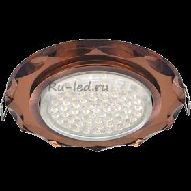 Потолочные светильники потолков светодиодные Ecola GX53 H4 Glass Стекло Круг с вогнутыми гранями черненая медь - янтарь 38x126 (к+)