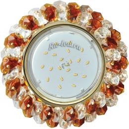 светильник gx53 н4 создаст романтичное настроение и атмосферу роскоши Ecola GX53 H4 Glass Круглый с хрусталиками Прозрачный и Янтарь /Золото 56x120 (к+)
