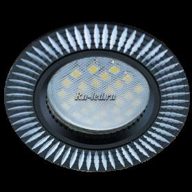 Светильники потолочные встраиваемые Ecola MR16 DL3182 GU5.3 Светильник встр. литой (скрытый крепеж лампы) Черный/Алюм Рифленые Реснички по кругу 23x78