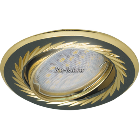 светильник поворотный Ecola MR16 KL6A GU5.3 Светильник встр. литой поворотный искр.гравир. Листья по кругу Черный Хром/Золото 23x86