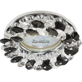 точечные светодиодные светильники для потолков станут отличным дополнением кухни Ecola MR16 CD4141 GU5.3 Светильник встр. круглый с хрусталиками Прозрачный и Черный/Хром 50x90 (кd74)
