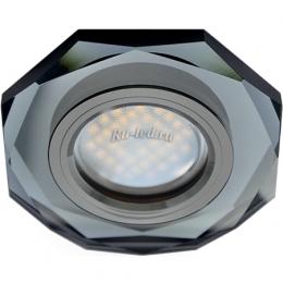Стеклянный потолочный светильник Ecola MR16 DL1652 GU5.3 Glass Стекло 8-угольник с прямыми гранями Черный / Черный хром 25x90 (кd74)