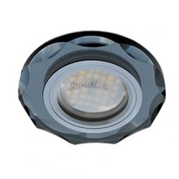 Точечные светодиодные светильники для натяжных Ecola MR16 DL1653 GU5.3 Glass Стекло Круг с вогнутыми гранями Черный / Черный хром 25x90