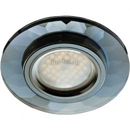 встроенные светильники в потолок Ecola MR16 DL1654 GU5.3 Glass Стекло Круг граненый Черный / Черный хром 25x90