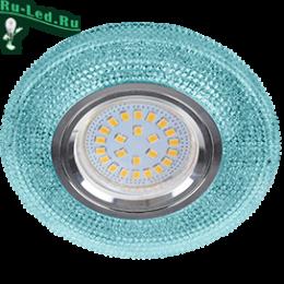 """встроенные светильники москва отлично сочетается как с современным, так и с классическим стилем Ecola MR16 LD7069 GU5.3 Светильник встр. искристый с подсветкой """"Модерн"""" Голубой / Хром 25x95"""