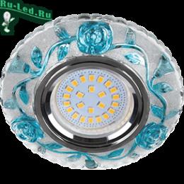 """светильники под натяжной потолок сегодня могут заменить привычные нам люстры Ecola MR16 LD7071 GU5.3 Светильник встр. искристый с подсветкой """"Розы"""" Прозрачный и Голубой / Хром 25x95"""