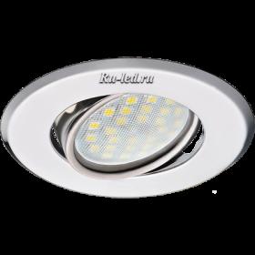 точечный светильник цена Ecola MR16 DH09 GU5.3 Светильник встр. поворотный плоский (скрытый крепеж лампы) Хром 25x90 (кd74)