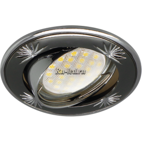 светильник ecola mr16 Ecola MR16 DL21 GU5.3 Светильник встр. литой поворотный искр.гравир. Четыре цветка Черный Хром/Хром 23x84