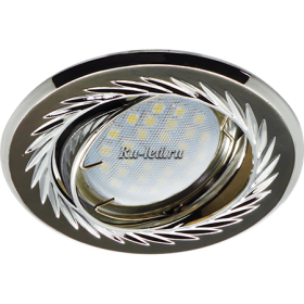 потолочные поворотные светильники Ecola MR16 KL6A GU5.3 Светильник встр. литой поворотный искр.гравир. Листья по кругу Черный Xром/Хром 23x84