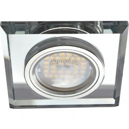 Квадратные точечные светильники Ecola MR16 DL1651 GU5.3 Glass Стекло Квадрат скошенный край Хром / Хром 25x90x90