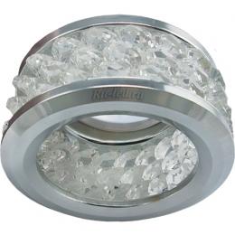 Светодиодные светильники для реечного потолка Ecola MR16 DL1655 GU5.3 встр. круглый с хруст.(3 ряда) и ободком - Прозрачный / Хром 63x85