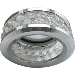 Светодиодные светильники для потолка Ecola MR16 DL1656 GU5.3 встр. круглый с хруст.(2 ряда) и ободком - Прозрачный / Хром 54x85