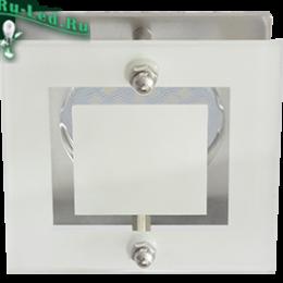 светильник mr16 купить можно для оформления прихожей или кухни Ecola MR16 DL200 GU5.3 Glass Квадрат со стеклом Прозрачный и Матовый / Хром 45x77x77